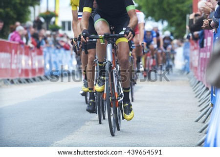 bicycle compétition race on the road - stock photo
