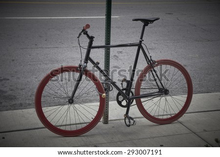 Bicycle connected on a street in Detroit Michigan USA - stock photo
