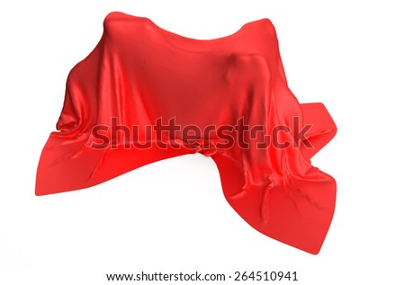 Bicycle covered by red cloth on white background