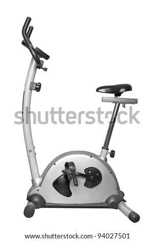 Bicycle exercise machine isolated on white - stock photo