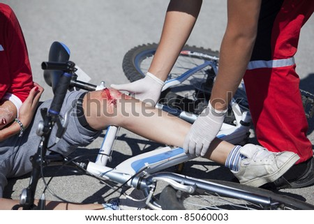 Bicycle fall - stock photo