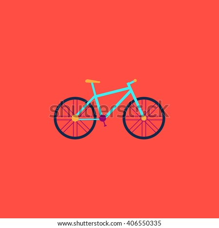 Bicycle Flat icon on color background. Simple colorful pictogram - stock photo
