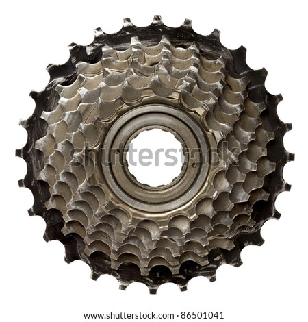 Bicycle gear, metal cogwheel. Isolated on white. - stock photo
