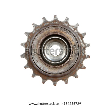 Bicycle gear wheel isolated on white background - stock photo
