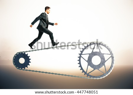Bicycle gearing with running businessman on abstract bright background. 3D Rendering