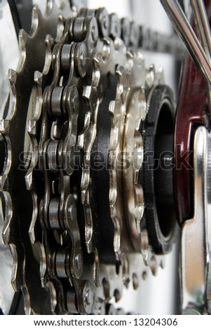 Bicycle gears.  Chainrings set closeup. - stock photo