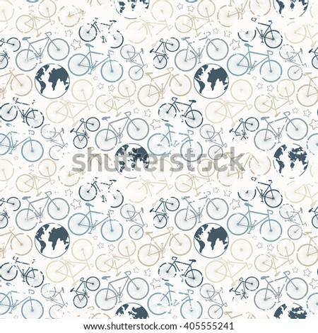 Bicycle grunge seamless pattern. seamless bicycle grunge pattern.Cycle racing.Travel around the world on a bicycle - stock photo