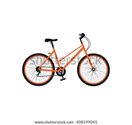 Bicycle icon design flat isolated. Bike and orange bycicle, cycling race sport. Mountain bicycle, travel bicycle  illustration