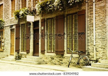 BICYCLE IN OLD QUEBEC - stock photo