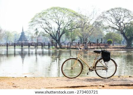 bicycle in Sukhothai Historical Park, Sukhothai Province, Thailand - stock photo