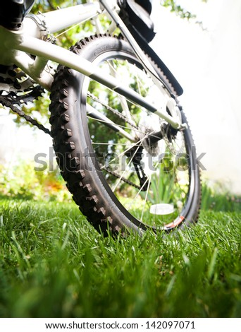 Bicycle in the grass, close up photo