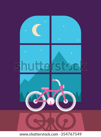 Bicycle inside the room - stock photo