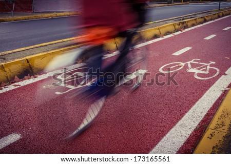 Bicycle lane - stock photo