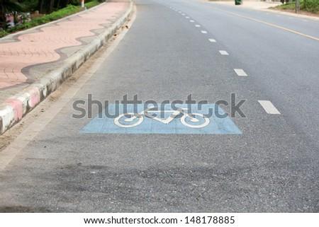 Bicycle lane sign - stock photo