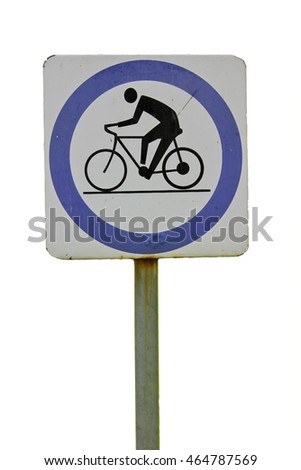 Bicycle lane sign on white