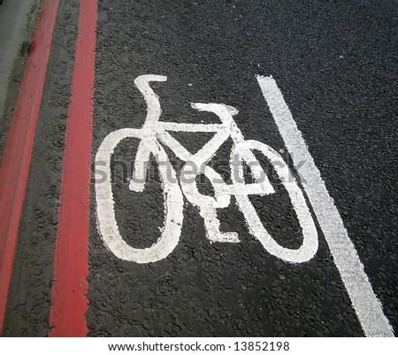 Bicycle lane traffic sign - stock photo
