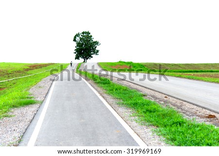 Bicycle lanes at parks, walking path and bike trail - stock photo