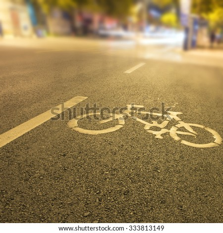 Bicycle lanes night - stock photo