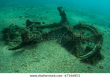 Bicycle left underwater as an impromptu artificial reef, picture taken under the Blue Heron Bridge, in the intercoastal waterway of Palm Beach County, Florida. - stock photo