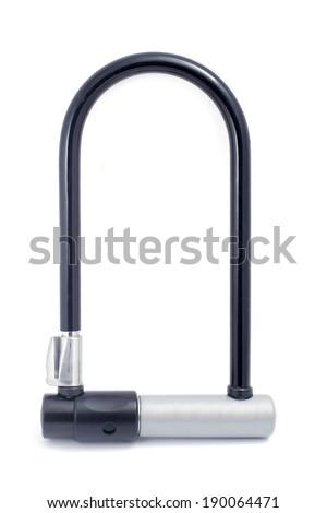 Bicycle lock on white - stock photo