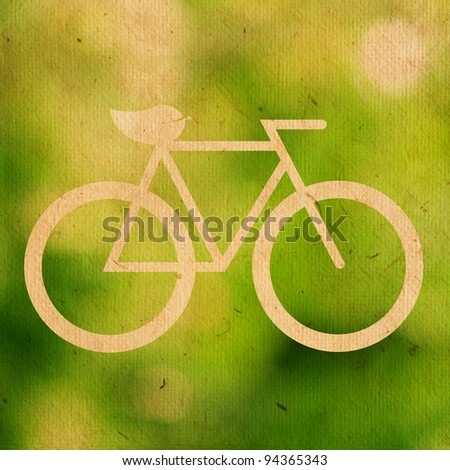 bicycle logo ecological on paper texture - stock photo