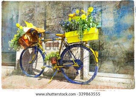Bicycle of postman - charming street decoration, retro picture - stock photo
