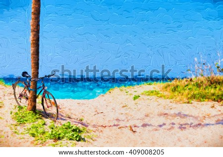 Bicycle on beach - painterly - stock photo