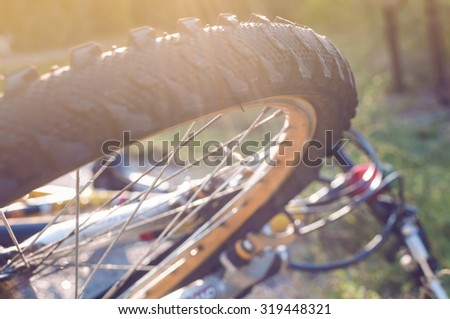 bicycle on the grass, selective focus image - stock photo
