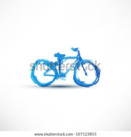 Bicycle painted with a brush - stock photo