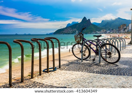 Bicycle parked in Ipanema beach in Rio de Janeiro. Brazil - stock photo