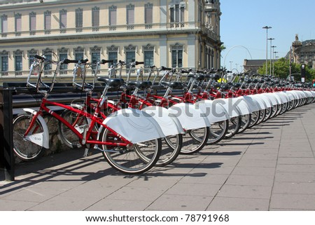 Bicycle parking in the city. Spain - stock photo