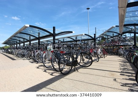 bicycle parking lot - stock photo