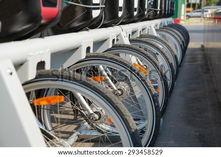 Bicycle parking. Rent a bike in the city. - stock photo
