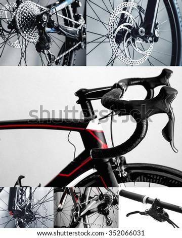 Bicycle parts collage, road bike, mountain bike, brake disc, handlebar, chain - stock photo