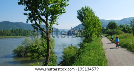 Bicycle path on the Danube, Passau - Vienna, Austria - stock photo