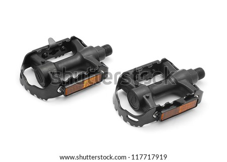 bicycle pedals on white background - stock photo