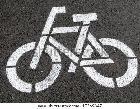 Bicycle picture on the ground - stock photo