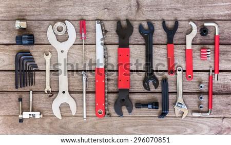bicycle professional tool set - stock photo