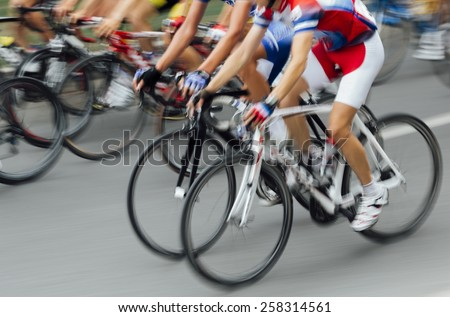 Bicycle Race, lens motion  - stock photo