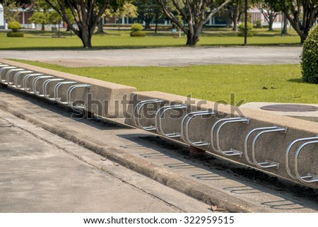 Bicycle racks in bicycle parking facility at thailand. - stock photo