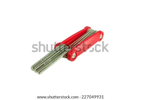 bicycle repair tools on white background - stock photo