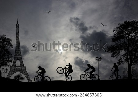 Bicycle riders at Paris in front of eiffel tower, background illustration - stock photo