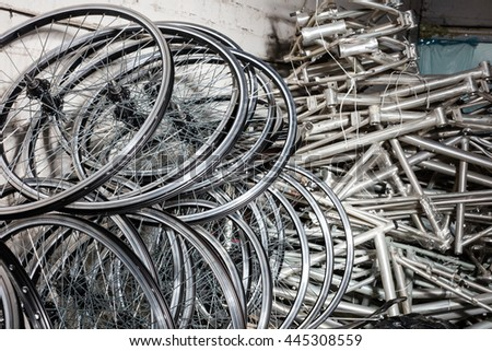 Bicycle rims in manufactory house. - stock photo