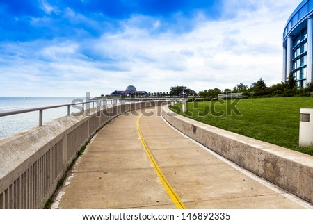 Bicycle Road in City Downtown - stock photo