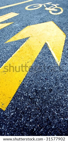 Bicycle road marks - stock photo