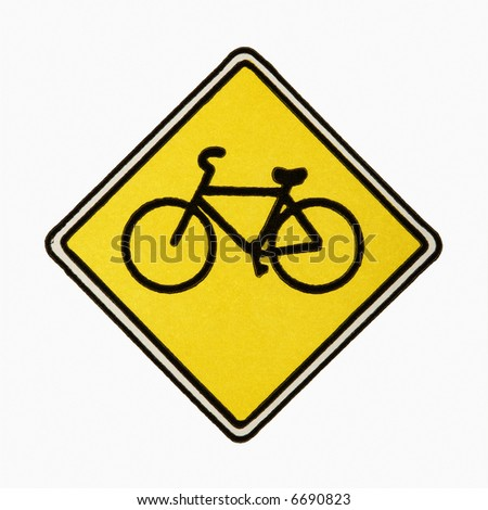 Bicycle road sign against white background. - stock photo
