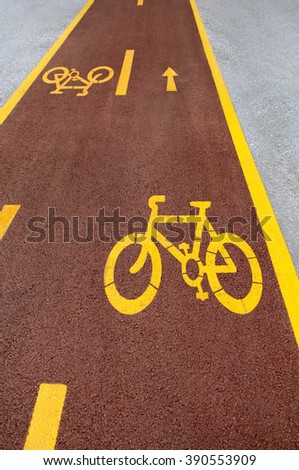 Bicycle road sign. bike alley in city - stock photo