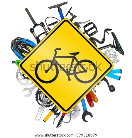 bicycle road sign concept with various bike parts isolated on white background - stock photo