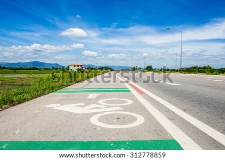 Bicycle road Traffic Sign with blue sky - stock photo