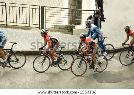 Bicycle's rally, in Sorrento street,  Italy - stock photo